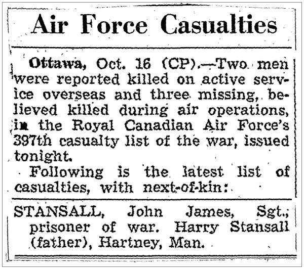 397th RCAF casualty list - Stansall