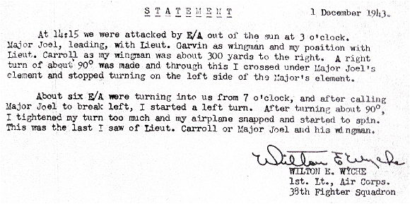 Statement - 1st  Lt. Wilton E. Wyche