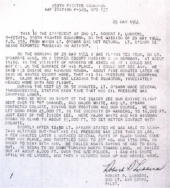Statement - 2nd  Lt. Robert P. Lubbers - 29 May 44