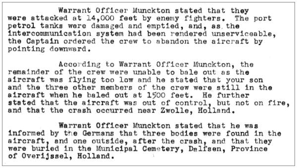 Statement W/O. - Horatio Irwin Munckton - RAAF