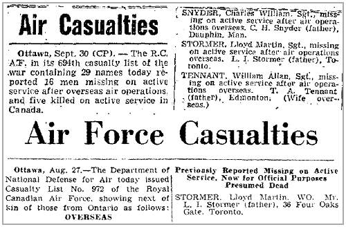 Globe and Mail - Air Force Casualties