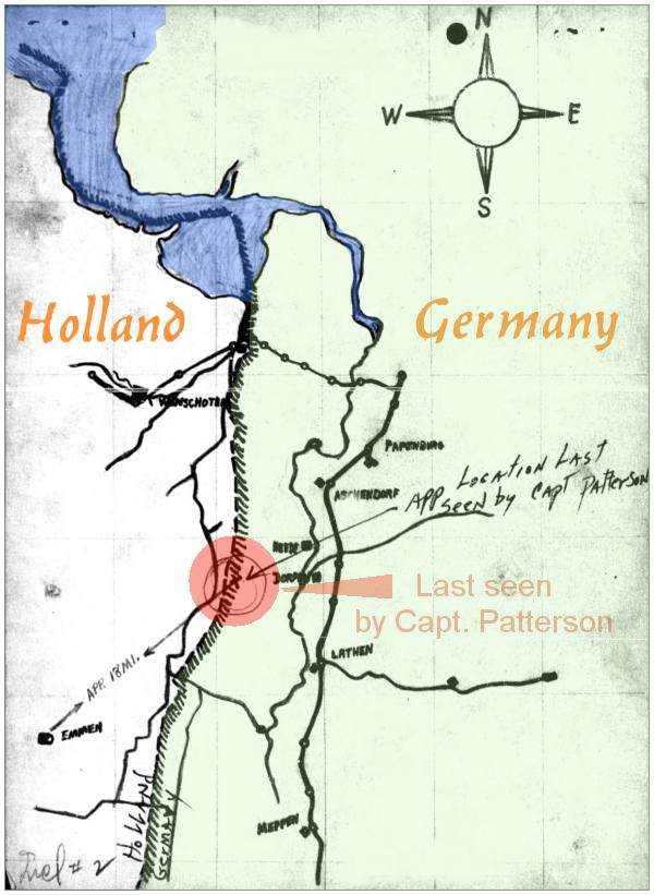 Map - border Holland/Germany - Suiter last seen by Capt. Patterson