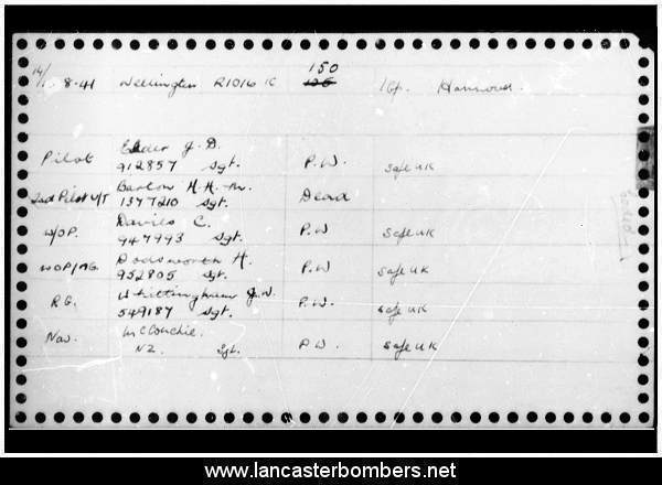 Loss Card - R1016 - JN-A - Elder - via www.lancasterbombers.net