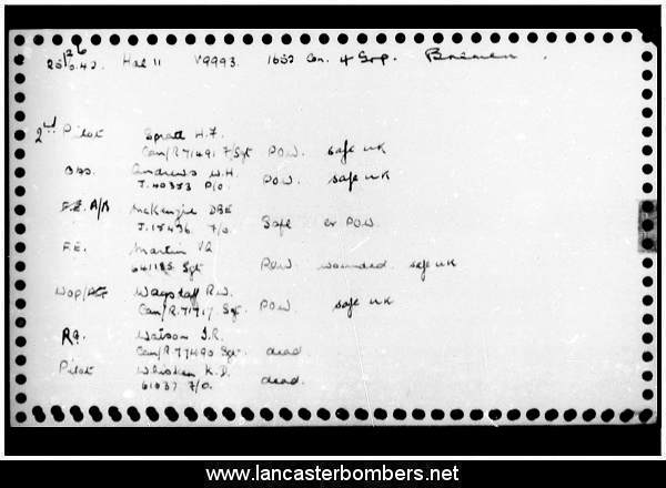 Loss Card - V9993 - GV-U - Whisken - via www.lancasterbombers.net