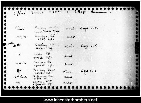 Loss Card - N3706 - MG-S - Bailey - via www.lancasterbombers.net