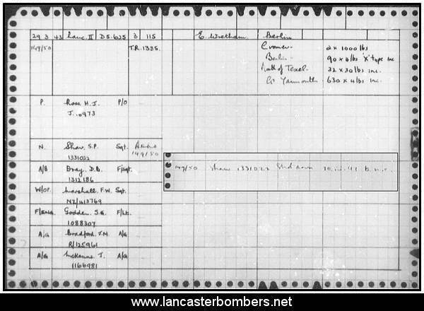 Loss Card - DS625 - KW-O - Ross - via www.lancasterbombers.net
