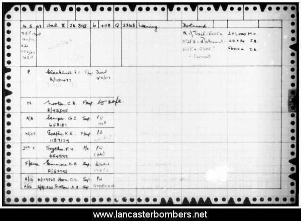Loss Card - JB898 - EQ-Q - Blackhall - via www.lancasterbombers.net