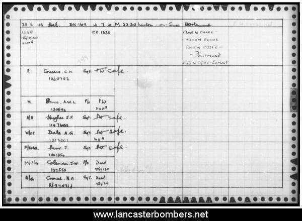 Loss Card - DK169 - MP-M - Cousins - via www.lancasterbombers.net