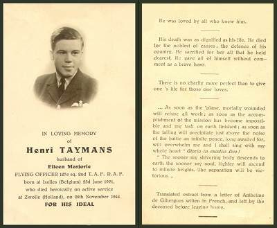 Flying Officer - Henri Leon Jean Marie Taymans - In Loving Memory