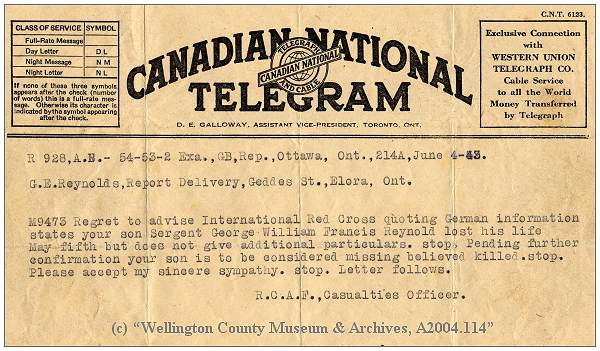 Telegram RCAF to Mr. G. E. Reynolds - 04 Jun 1943