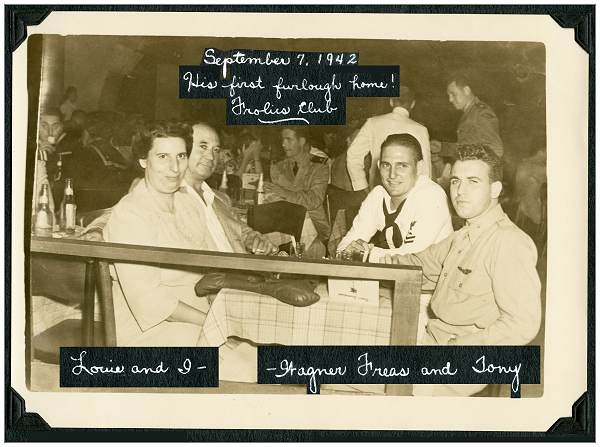 Tony with parents and Wagner Freas at Frolics Club - 07 Sep 1942