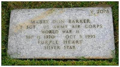 T/Sgt. Mabry Don Barker - memorial