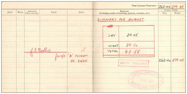 Summary Aug 1944 - Flying Log Book - 1395660 - Flight Sergeant - Navigator - Eric Henry Tunnell - RAFVR - final page