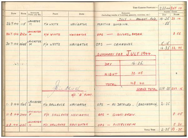 Jul 1944 - Aug 1944 - Flying Log Book - 1395660 - Flight Sergeant - Navigator - Eric Henry Tunnell - RAFVR