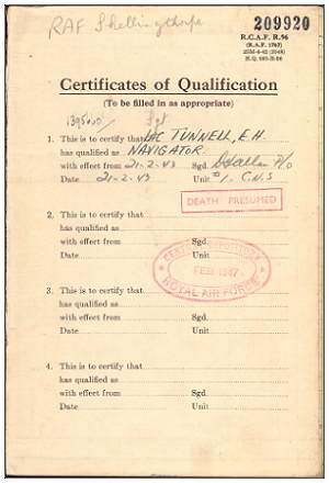 Name - Flying Log Book - 1395660 - Flight Sergeant - Navigator - Eric Henry Tunnell - RAFVR