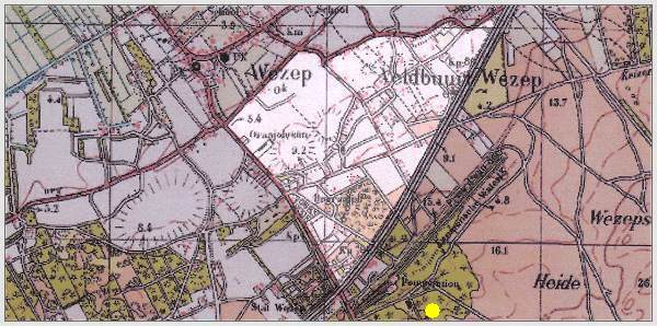 Map - Veldbuurt Wezep - aka - buurtschap Wezeperveld - crash location at Wezepsche Heide