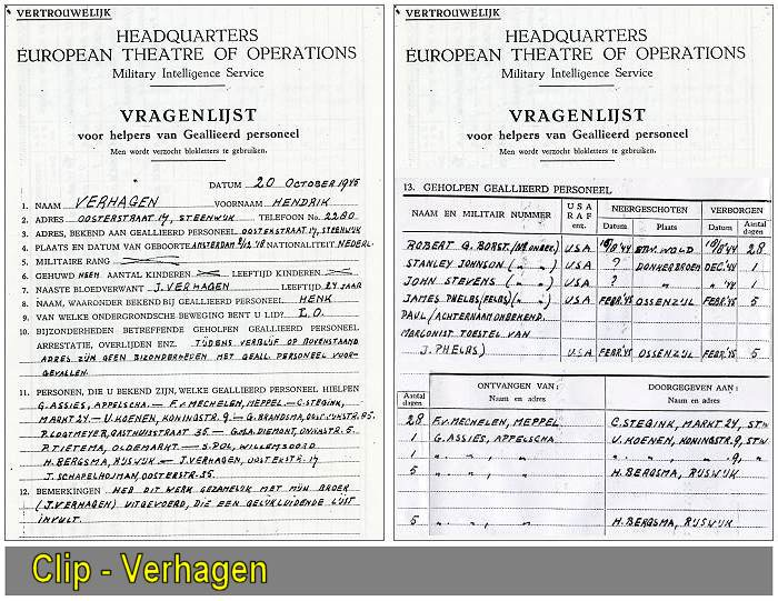 Hendrik 'Henk' Verhagen - 'VRAGENLIJST' - Questionnaire for helpers of Allied Personnel - 20 Oct 1945