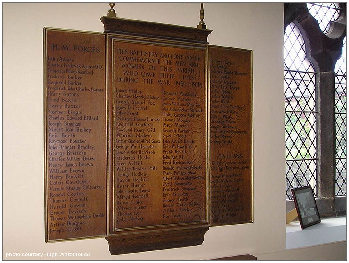 Memorial board - St Mary's Church, Walkley, Sheffield