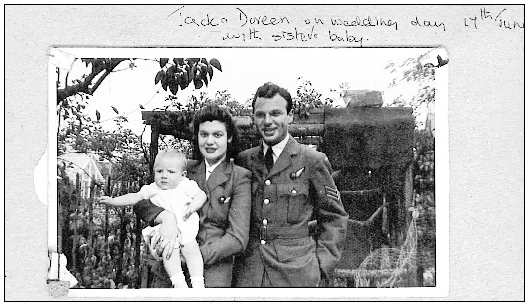 On wedding day 17 June 1942 - Jack Edward Gibbs and Doreen Margaret Betts