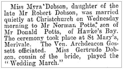 Wedding - Norman Potts and Myra Dobson - 1914
