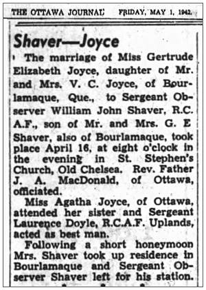 Wedding Shaver-Joyce - The Ottawa Journal, Friday, May 1, 1942