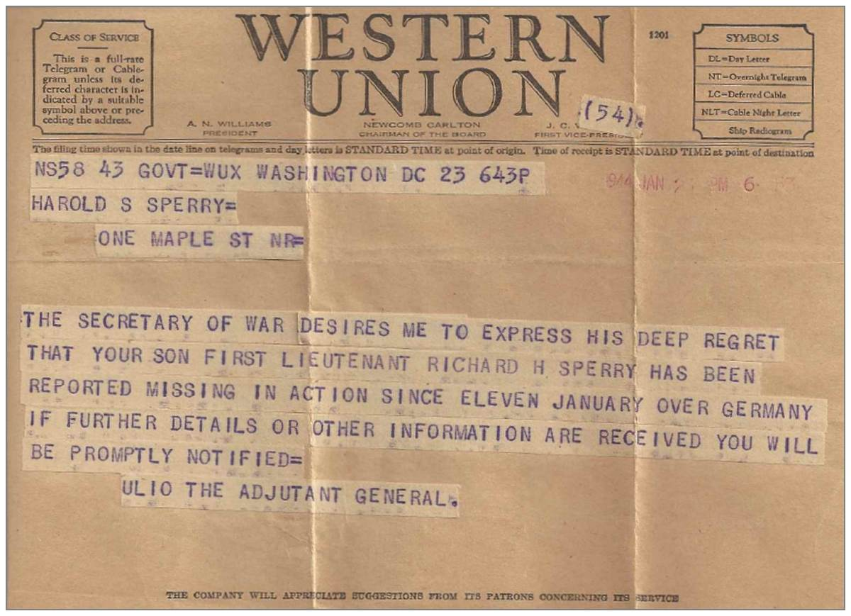 1st Lt. Richard H. Sperry - Western Union Telegram - MIA