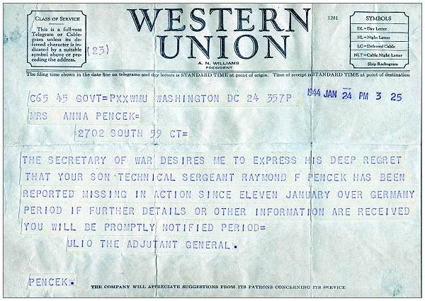24 Jan 1944 - M.I.A. Telegram - Western Union - to Mrs. Anna Pencek