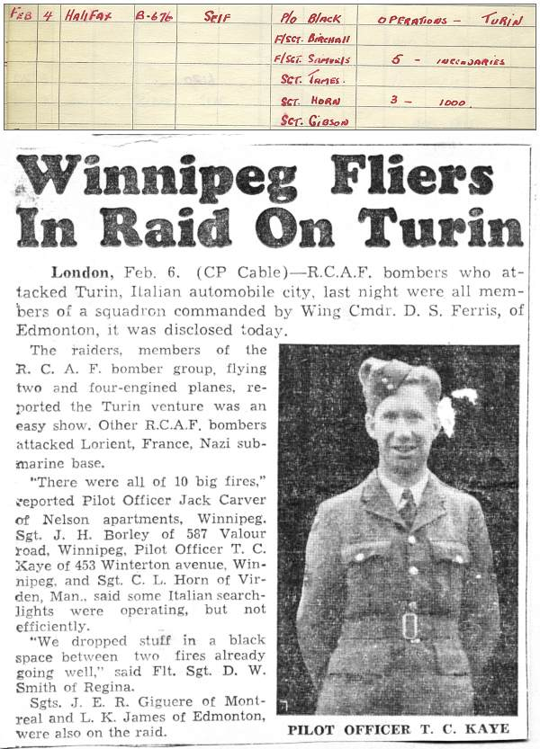 Carver - Logbook 04 February 1943 - Winnipeg Fliers In Raid On Turin