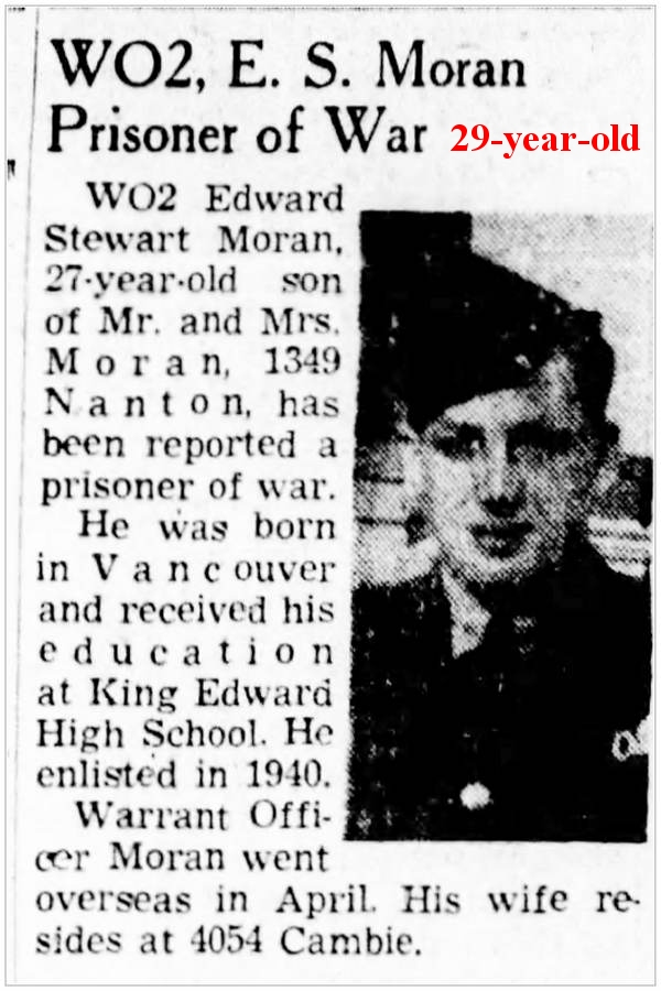 R/74523 - WO2 - Edward Stewart Moran - Prisoner of War - Ted is 29-year-old (born 04 aug 1915)