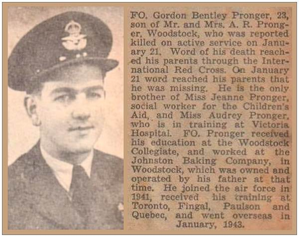 Death Notice - F/O. Gordon Bentley Pronger - Woodstock Sentinel Review