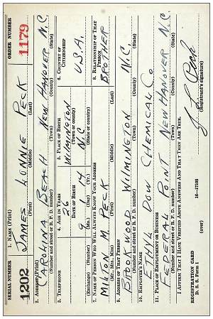WWII draft registration card - James Lonnie Peck - 16 Oct 1940, Wilmington, NC