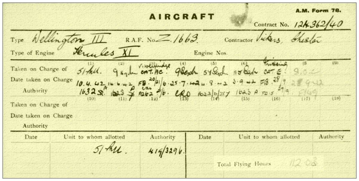 Wellington Mk.III - Vickers Armstrong, Chester - Z1663 - A.M. form 78 - via Dom