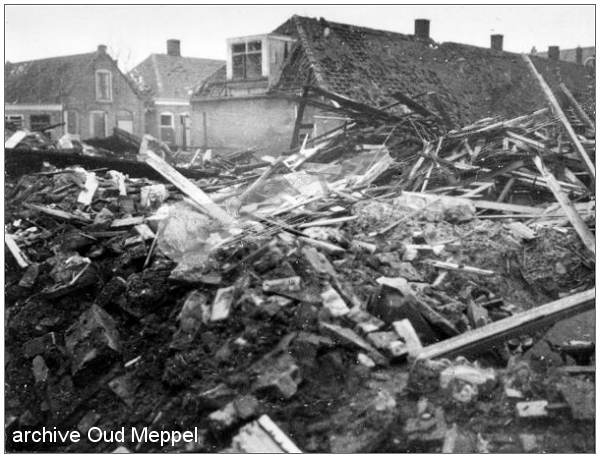 Damage in and around the Wilhelminiastraat after the bombardment of 28 Jan 1945
